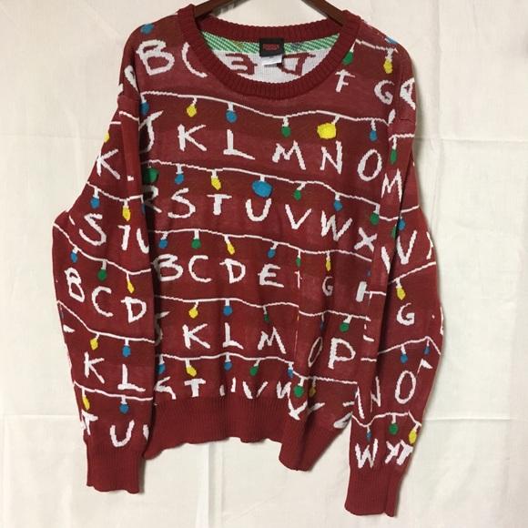 Stranger Things Christmas Sweater.Stranger Things Ugly Christmas Sweater Real Light